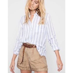 RAILS CHARLI Linen Shirt in CAYMAN STRIPE white XL